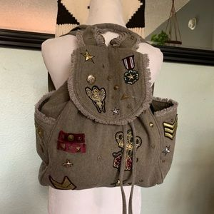 Steve Madden army green Wilson patch backpack